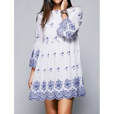 Ethnic Style Round Neck Flare Sleeve High Waisted Retro Embroidery Dress For Women | TwinkleDeals.com