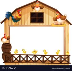 Background design with chickens on the barn vector image on VectorStock Farm Animal Crafts, Farm Animals, Pet Chickens, Chickens Backyard, Farm Cartoon, Kids Background, Background Banner, Chicken Barn, Boarders And Frames