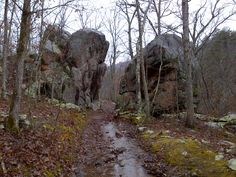 The Devil's Tollgate is a monolith on the Ozark trail where a large amount of rhyolite toppled off the mountainside into the valley below. This is an example of Mass Wasting. The formation is located in Taum Sauk Mountain State Park, eight miles southeast of Ironton, Mo.