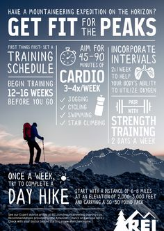 Fitness and Training Tips Get fit before your next mountaineering trip with these training tips.Get fit before your next mountaineering trip with these training tips. Thru Hiking, Hiking Tips, Camping And Hiking, Hiking Gear, Hiking Backpack, Backpacking Tips, Kayak Camping, Ultralight Backpacking, Winter Camping