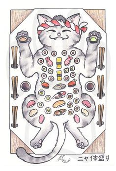 Sushi cat! Love the look on the kitty's face. Would be rad for a tattoo!