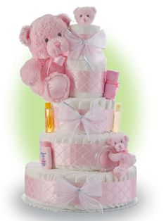 Teddy Bear Pink Diaper Cake. Adorable and functional! Add an edible treat to the baby shower with Patchi's Bedtime Teddy Chocolate favor. So great for guest gifts. http://patchi.us/baby-girl-teddycutout-favor.html
