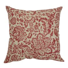 This decorative pillow from Pillow Perfect is sure to be the perfect accent in any room. An antiqued red damask pattern covers the tan background on this throw pillow for a French country cottage feel.