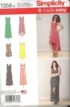 Simplicity 1358 Misses Dress Knit length and neckline variations Size XXS-XXL - Sewing Patterns