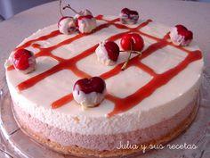 Tartas, cerezas, tarta de cerezas, mouus de cerezas, chocolate blanco, mouse de chocolate blanco, Julia y sus recetas, postres, dulces