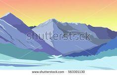 Summer vector landscape. Mountain landscape. Beautiful bright background.