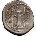 Roman Republic 42BC Apollo Lyre Diana as Moon Torches Ancient Silver Coin i57347