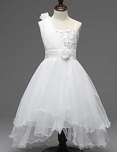 0d1b2d58ee A-line Asymmetrical Flower Girl Dress - Tulle   Polyester Sleeveless One  Shoulder with Vestidos