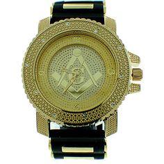 Jewelzking.com - Mens Iced Out Gold Ice Nation Freemason Masonic Watch With Bullet Band #masonicwatches #goldmasonicwatch #freemason #mason #menswatch #blingwatch #Freemasonry