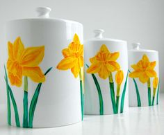 Yellow Daffodil Canisters--3 Piece Hand-Painted Collection by Mary Elizabeth Arts. The perfect Mother's Day gift!