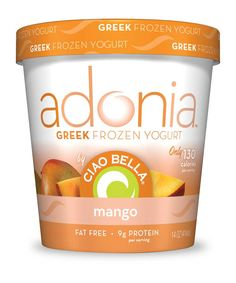 Adonia Greek Frozen Yogurt by Ciao Bella.  mango. only 130 calories per serving. #fatfree #lowcal #adonia