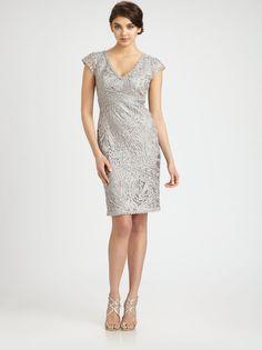 SUE WONG Soutache Embroidery Dress Platinum SIZE 4 #213 NEW #SUEWONG #Sheath #Cocktail