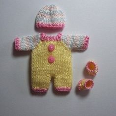 Handmade knitted outfit for miniature baby doll #RB293
