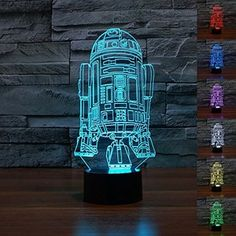 Padaday Star Wars Force Awaken R2-D2 Robot Children Bedroom Decorative with built in 7 Color Change LED USB Touch