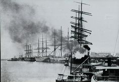 """The """" Williams"""" (outer foreground) & the """" Favourite"""" ( inner foreground) both owned by the Williams River Steam Navigation Company, Newcastle Harbour, Newcastle, NSW, [c. South Australia, Western Australia, Newcastle Town, Aboriginal History, Botany Bay, Herzog, Tall Ships, South Wales, Tasmania"""