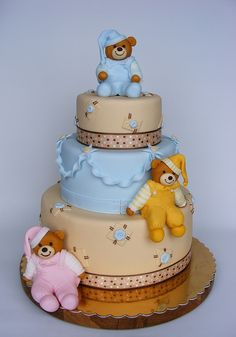Three Teddy Bear Cubs Decorated Cake for Baby Shower.
