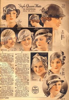1930s hats, fashion accessories, millinery. Hats from Chicago Mail Order Catalog 1933  Source:http://what-i-found.blogspot.com/2009_11_01_archive.html