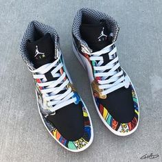94b80727e23e7 Notorious - Custom Hand Painted Jordan Retro 1 Shoes Jordan Retro 1, Jordan  1,