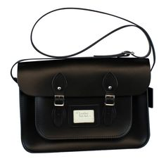 Classic Charcoal Black Leather Satchel 14 inch - The Leather Satchel Co.