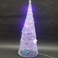 Cáñamo cuerda árbol cono de Navidad con luces para la decoración