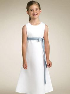 New Arrival White First Communion Dress with Scoop Neckline and Tea-Length Skirt Adorned with Exquisite Bow at the Back, Quality Unique Flower Girl Dresses Designer First Communion Dresses, Holy Communion Dresses, Tea Length Skirt, Baptism Dress, Butterfly Dress, Kirchen, Dress First, Cheap Dresses, Occasion Dresses