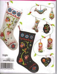Simplicity Pattern: 2495 Holiday Crafts - Christmas decoration sewing patterns, including ornaments and stocking. Felt Christmas Stockings, Christmas Stocking Pattern, Felt Stocking, Felt Christmas Decorations, Felt Christmas Ornaments, Christmas Sewing, Stocking Ornaments, Tree Decorations, Christmas Projects