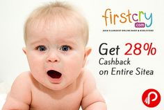 Firstcry is offering 28% Cashback on Entire Site. Valid Till 31-03-2016. Maximum cashback is Rs. 250 generated on final cart value after coupon code is applied. Coupon is not applicable on Combos, Bottles & Accessories, Formula & supplements& few brands.Coupon can be used only once. Cashback coupon will be sent on email post the successful delivery of your order.  http://www.paisebachaoindia.com/get-28-cashback-on-entire-site-firstcry/