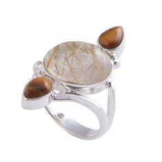 925 STERLING SILVER 5.60g GOLDEN RUTILE & TIGER EYE RING JEWELLERY R0387 #Handmade #RING