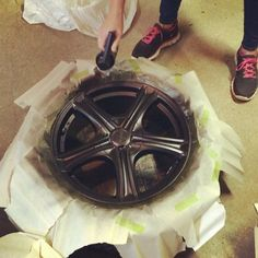 Work in process...applying coat #3 already. Quick and easy. #mibenco #liquidrubber #diy #rims #car #tuning #fountaintire #project #staytuned
