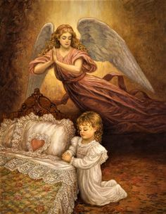 "Angylion: ""Good Night Prayer"" by Edgar Jerins Guardian Angel Pictures, My Guardian Angel, Pictures Of Angels, Entertaining Angels, Good Night Prayer, Angel Guide, I Believe In Angels, Psy Art, Angels Among Us"