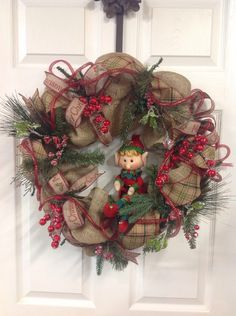 Waiting for Christmas by VickieAnns on Etsy https://www.etsy.com/listing/255405622/waiting-for-christmas Christmas, holiday, front door, wreath