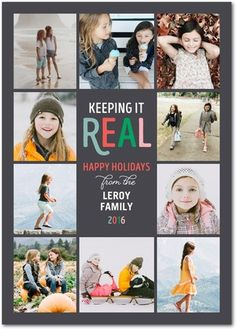 KEEPING IT REAL : 5x7 Flint Flat Holiday Photo Cards with matching address labels by Jill Smith for tinyprints.com (Flint, White and Navy color options and multiple trim and paper options available)