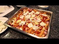 In today's episode I will be making baked ziti (pasta al forno). You will need a few ingredients:    Rigatoni Pasta  Tomato Sauce  Ham  Mozzarella Cheese  Parmigiana Cheese  Ricotta Cheese  Eggs