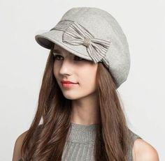 aca124e703d Sweet bow newsboy cap for women wool winter hats warm
