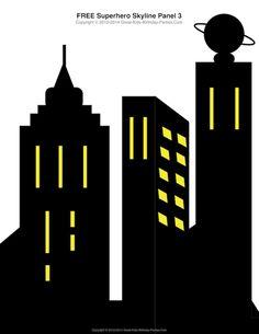 Free Superhero Printables - #Superhero building skyline, 4 different building…