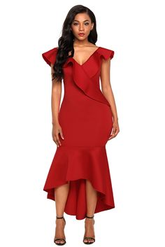 b612a4e156 Burgundy Ruffled Mermaid Maxi Party Dress