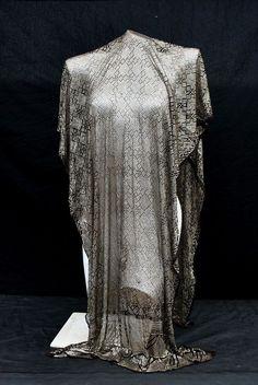 antique vintage 20's ASSUIT shawl silver metal Egyptian scarf Art Deco egyptian