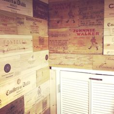 inspiration decor; wine box wall.