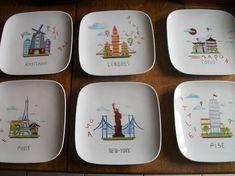 série de six assiettes à dessert carrées modernes avec pour