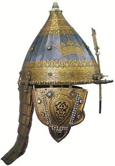 "The so called ""Jericho Cap"", a helmet belonged to the Russian Tsar Mikhail Romanov (1596 – 1645). Iron, gold, precious stones, pearls, silk; forging, carving, embossing, enamel. 1621. It is in the Armoury Collection of the Moscow Kremlin Museums. #medieval #Russian #history"