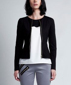 Another great find on #zulily! Black Princess-Seam Jacket by Lanti #zulilyfinds