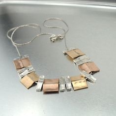 Modern Cubic Silver and Gold Necklace