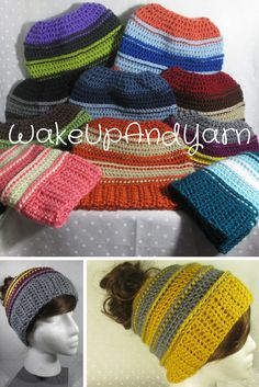 Messy bun/ponytail hats available in my Etsy shop as well as many more crochet accessories and apparel! Buy handmade and support small business. #uniquegifts #crochet #handmade