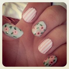 Pinstripes & Flowers! One of my favorite spring nail art:)
