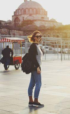 Get this look: http://lb.nu/look/6190591  More looks by Anna Kot: http://lb.nu/kotannakot  Items in this look:  Asos Flat Top Cat Eye Sunglasses, Mango Sweater, Topshop Mom Jeans, Kontora25 Black Leather Rucksack, H&M Black Leather Slip Ons   #asos #hm #topshop #mango #momjeans #denim #casual #ootd #style