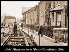 1904 - Laying Tram lines in London Road, Stockton Heath Local History, British History, Warrington Cheshire, Victorian Architecture, Old And New, Geography, Old Photos, Railroad Tracks, Past