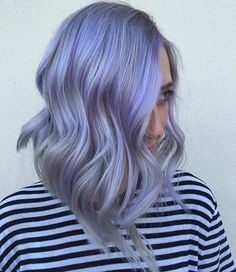 Lavender and Grey Long Bob Hairstyle