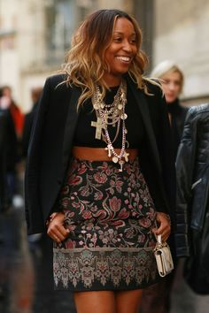 Pin for Later: The 50 Best Street Style Looks of 2014  Shiona Turini completed her outfit with ample jewels and an embroidered skirt.