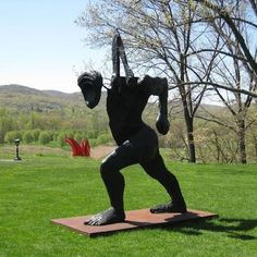 Untitled (Striding Figure) by Thoas Houseago at the Storm King Art Center.