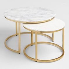 Drawing inspiration from mid-century design from Milan, our coffee table set pairs natural marble with gold-toned legs for a glamorous look.